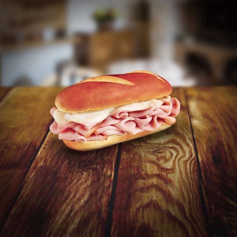 Pretzel Bread Ham Swiss Sandwich