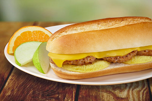 Sausage, Egg & Cheese on a Hoagie Roll